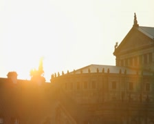 Sunset over Baroque Rococo architecture styles, European culture, click for HD Stock Footage