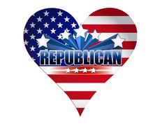 republican party usa heart illustration design - stock illustration