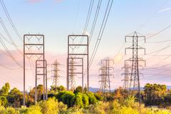 Power transmission electrical lines Stock Photos