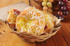 basket of danish pastries - stock photo