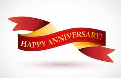 Happy anniversary red waving ribbon banner illustration design over white Stock Illustration