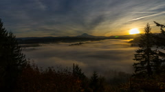 Time Lapse Movie of Moving Fog and Low Clouds with Mt. Hood at Sunrise 1080p Stock Footage
