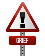 Stock Illustration of warning sign with a grief