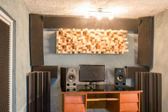 Music studio with microfiber insulation for noise Stock Photos