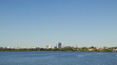 Wide Angle View of the Perth City Skyline from across the Swan River Stock Footage