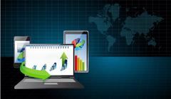Business electronics under research illustration Stock Illustration