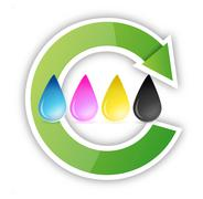 Cmyk inkjet ink drops recycle illustration design over white Stock Illustration