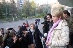 candidate for mayor of khimki opposition evgeniya chirikova says journalists - stock photo
