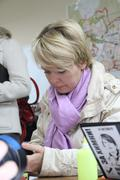 candidate for mayor of khimki opposition leader yevgeniya chirikova in his ca - stock photo