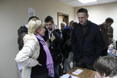 candidate for mayor of khimki opposition evgeniya chirikova communicates with - stock photo