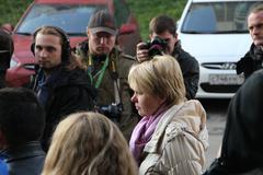 candidate for mayor of khimki opposition leader evgeniya chirikova speaks wit - stock photo