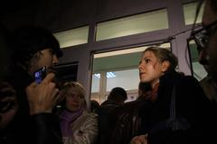 Election observers lubov sobol tells the press about violations at its pollin Stock Photos