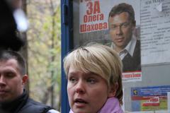 the opposition candidate for mayor of khimki evgeniya chirikova near the info - stock photo