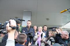 opposition leader alexei navalny arrived in khimki to support the opposition - stock photo