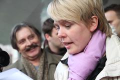 Candidate for mayor of khimki opposition evgeniya chirikova says journalists Stock Photos