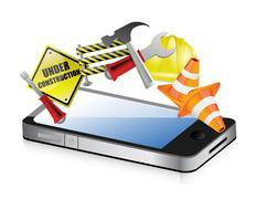 phone under construction design phone under construction design - stock illustration