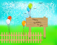 Wooden desk with happy birthday text and balloons Piirros