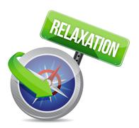 Compass pointing to relaxation. illustration Stock Illustration