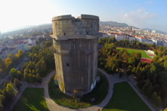 Flak tower in Vienna, Luftwaffe defense during World War II, click for HD - stock footage