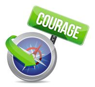 courage on a compass - stock illustration