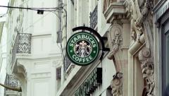 Starbucks Coffee coffeehouse logo Stock Footage