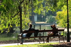 Romantic dating man and woman separately in park benches meeting, click for HD Stock Footage