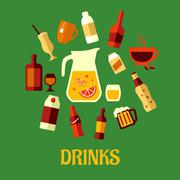 Drinks vector illustration of assorted beverages Piirros