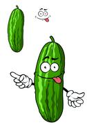 green cartoon cucumber with a goofy smile - stock illustration