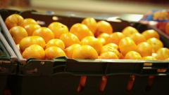 Tangerine On Display At The Market Stock Footage