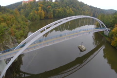 Simple pedestrian bridge in countryside aerial shot contemporary, click for HD Stock Footage