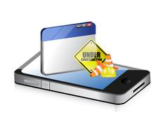 smartphone website under construction sign - stock illustration