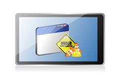 tablet website under construction sign - stock illustration