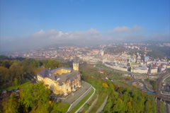Aerial shot industrial city on river, beautiful castle Vetrusi, click for HD Stock Footage