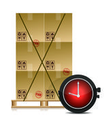 Stock Illustration of pallet and some cartons with a stopwatch illustration design