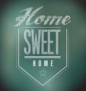 Stock Illustration of chalkboard vintage home sweet home sign poster illustration
