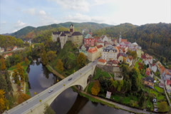 Real European castle, royal lord residence, autumn fall aerial, click for HD Stock Footage