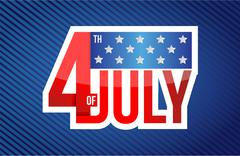 fourth of july sign on a blue - stock illustration