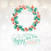 Christmas mistletoe wreath. - stock illustration