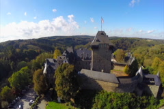 Burg Castle in Solingen, Germany aerial shot reconstructed  fort, click for HD Stock Footage