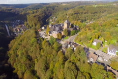 Ancient 600 year old castle in Germany Europe, aerial, village, click for HD Stock Footage