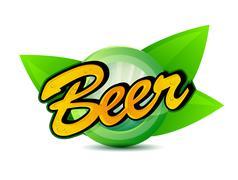 Organic beer poster sign seal illustration design over a white background Stock Illustration