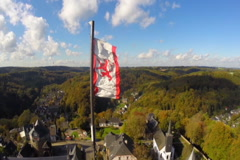Lion banner flag waving, ancient castle medieval knight, aerial, click for HD Stock Footage