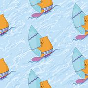 Seamless, teddy bear surfer Stock Illustration