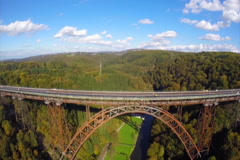 Mungstener Brucke old bridge construction, river Wupper aerial, click for HD Stock Footage