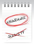 abundance vs scarcity illustration design over a white notepad - stock illustration