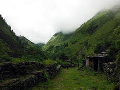 Agricultural area of Himalayas during monsoon Stock Photos