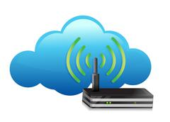 One cloud with a modem router Stock Illustration