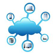 Stock Illustration of cloud computing electronic network concept
