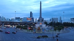 Evening Traffic around Victory Monument in Thailand, Urban Life Stock Footage
