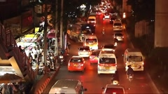 Night Traffic around Victory Monument in Thailand, Urban Life Stock Footage